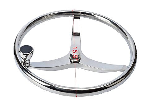 "Amarine Made Stainless Steel Boat Steering Wheel 3 Spoke 15-1/2"" Dia, with 5/8"" -18 Nut and Turning Knob for Seastar and Verado"