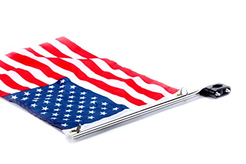 "Amarine Made Stainless Steel Rail Mount Boat Pulpit Staff (7/8"" - 1 1/4""), Boat Yacht Marine Flag Pole with US Flag"