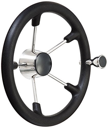 Amarine Made 13-1/2 Inch Boat Marine 5 Spoke Destroyer Steering Wheel with Black Foam Grip and Knob