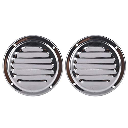Amarine Made Pair of Stainless Steel 4 Inch Marine Boat Engine Louvered Style Vent Cover