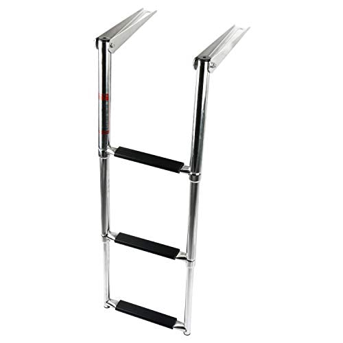 Amarine Made Telescoping 3 Step Ladder Extendable Swim Step Boat Ladder with Adjustable Mounting Bracket for Marine Boat Yacht Swimming Pool