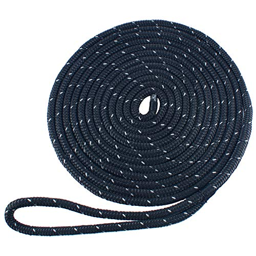 Amarine made 3/8 Inch 20 FT Reflective Double Braid Nylon Dockline Mooring Rope Double Braided Dock Line