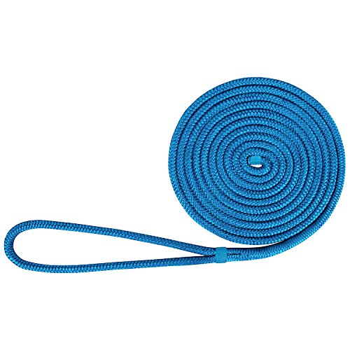 Amarine Made 1/2 Inch 20 FT Double Braid Nylon Dockline Dock Line Mooring Rope Double Braided Dock Line, Color: Black, White, Blue, Cadet Blue, White/Gold