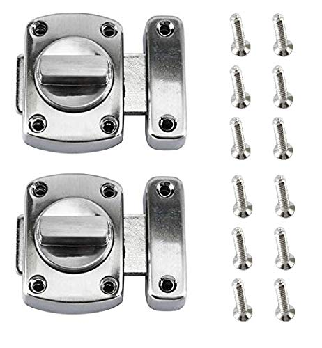 Amarine-made 2 Pcs Rotate Bolt Latch Gate Latches,Zinc Alloy Thick Anti-Theft Safety Door Lock Latch Kit