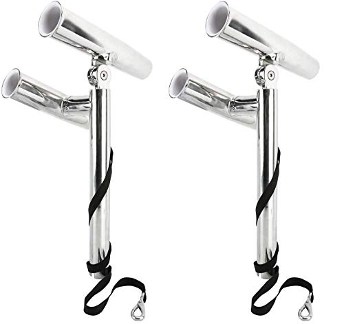 Amarine-made Silver Highly Polished Dual Adjustable Rod Holder, Double Angle Adjustable Rod Holder, Any Angle from Water