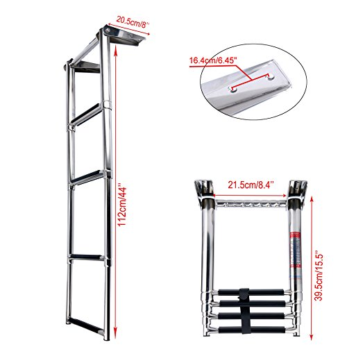 Amarine Made 4 Step Telescoping Swim Marine Boat Ladder Stainless with Built in Handle