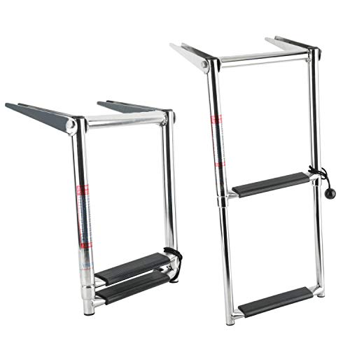 Amarine Made 2 Step Telescoping Swim Marine Boat Ladder Stainless with Built in Handle