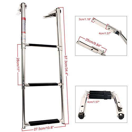 Amarine Made Heavy Duty 3 Steps Boat Marine Telescoping Stainless Steel Sport Marine Ladder with Slide Mount - 7334s
