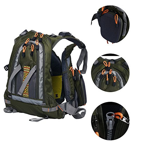 Amarine-made Fly Fishing Backpack Adjustable Size Mesh Fishing Vest Pack, Fly Fishing Vest and Backpack Combo-D77