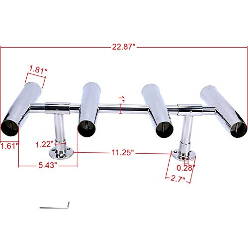 Amarine Made 4 Tube Adjustable Stainless Rocket Launcher Rod Holders, Can Be Rotated 360 Deg