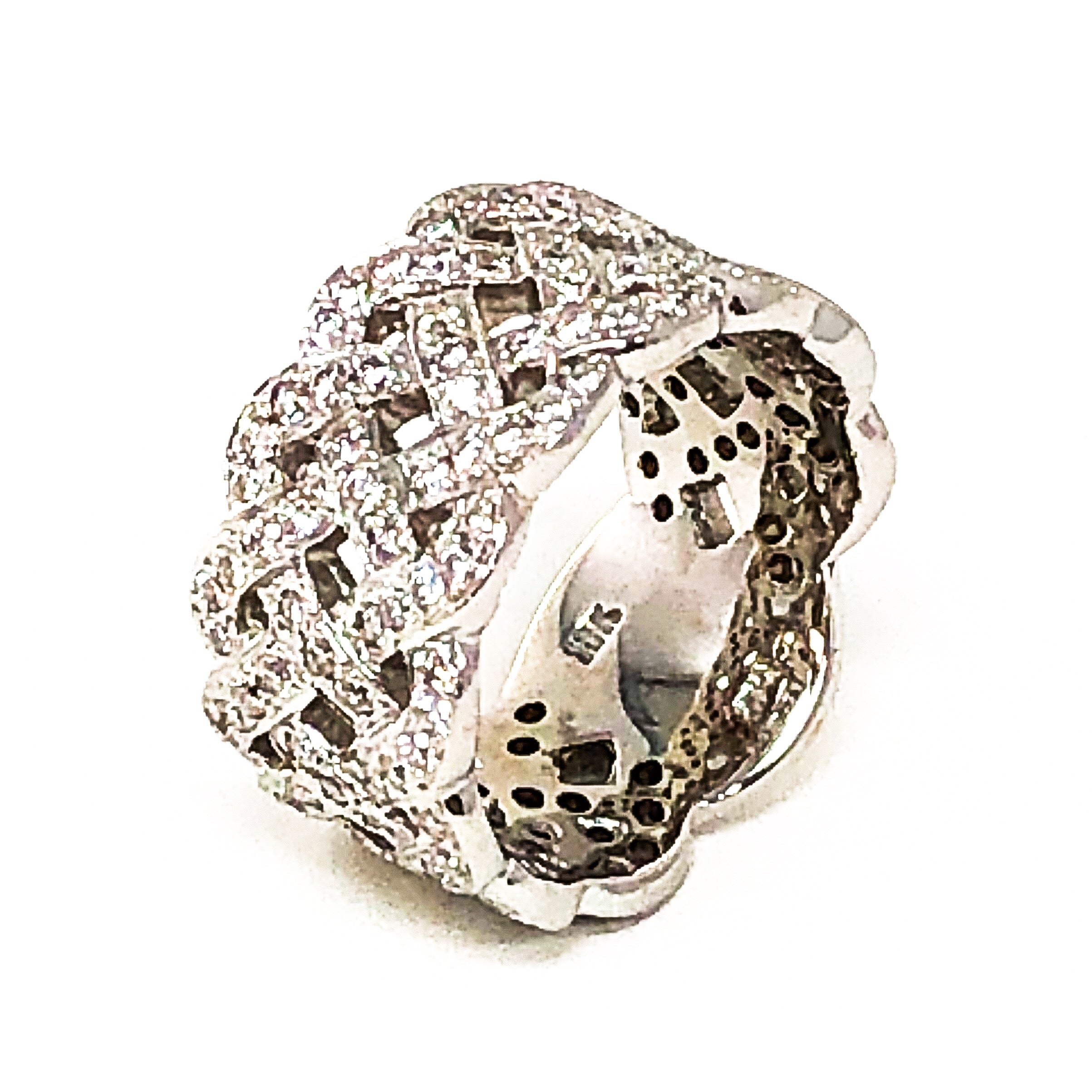 18kt White Gold Ring with Woven Diamond Pave