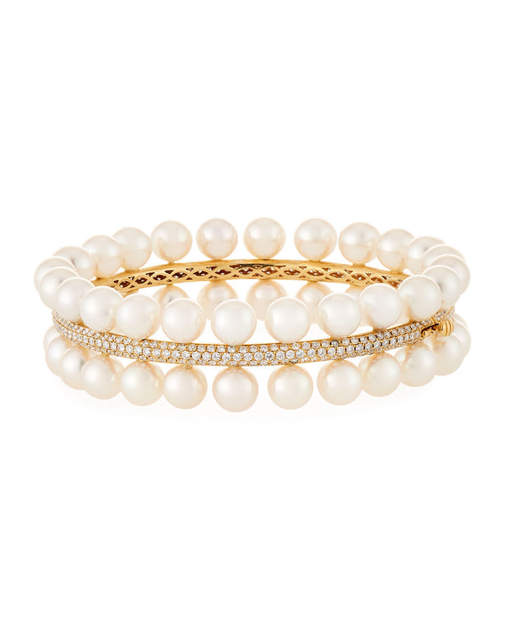 Akoya Cultured Pearl and Diamond Pave Bangle