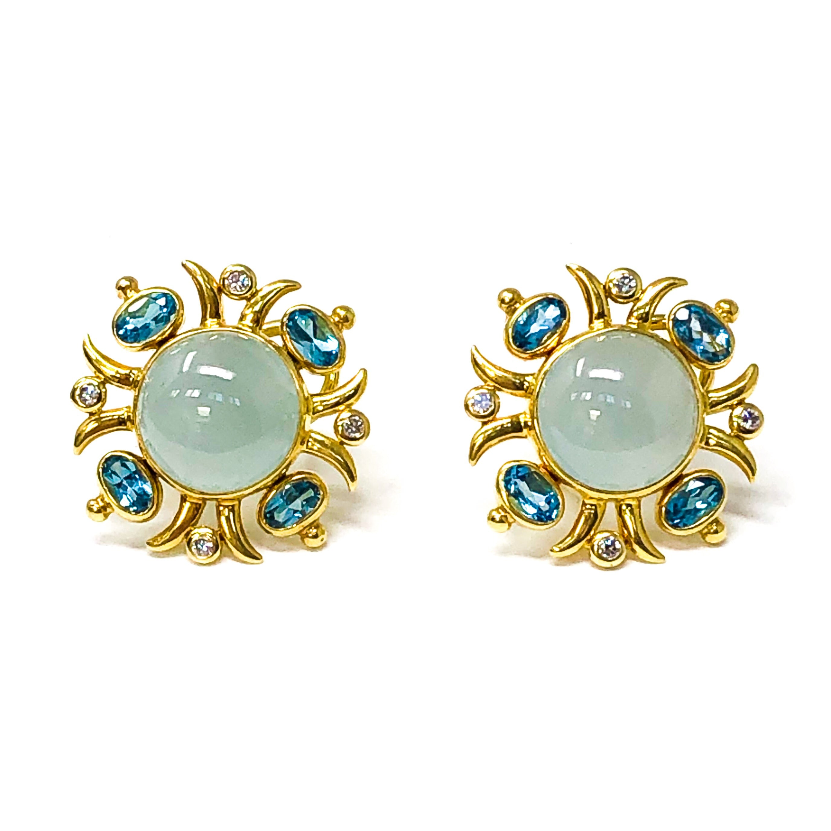 Aquamarine and Blue Topaz Button Earrings
