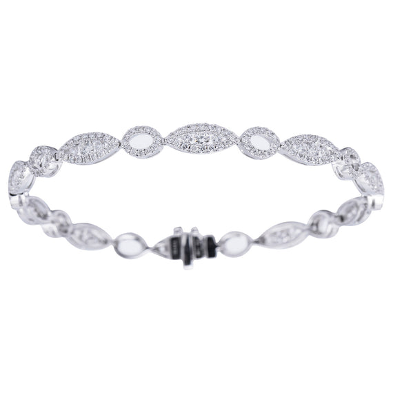 18k White Gold and Diamond Pave Line Bracelet