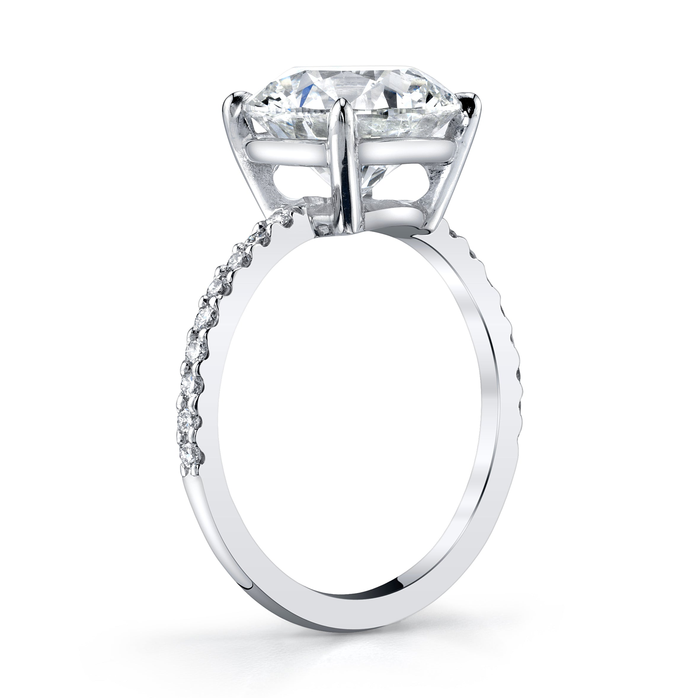 Platinum and 4-Carat Round Brilliant Cut Diamond Ring