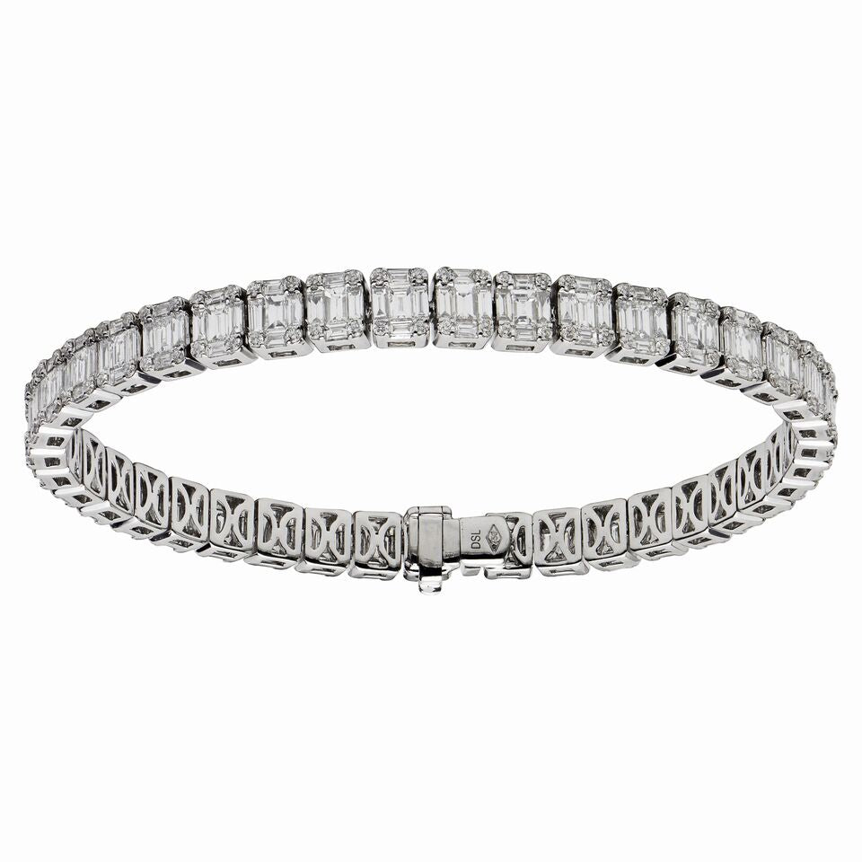 18k White Gold and Diamond Line Bracelet