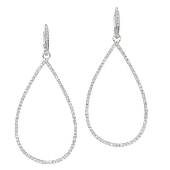 18k White Gold and Diamond Pear-Shaped Drop Earrings