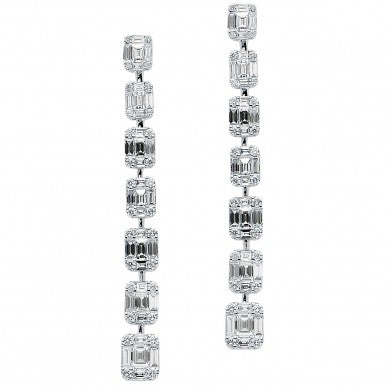 18KW Diamond Stiletto Mosaic Earrings