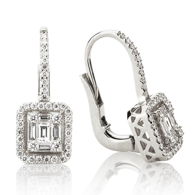 18k White Gold and Diamond Mosaic Drop Earrings