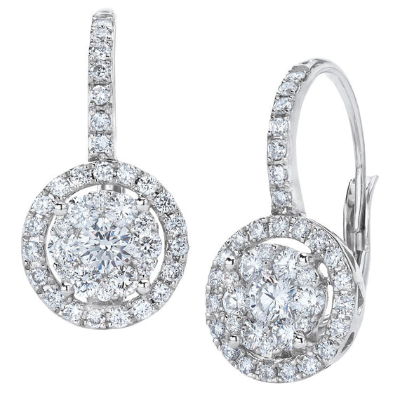 18k White Gold and Diamond Cluster Earrings