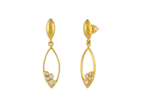 22kt Yellow Gold and Diamond Drop Earrings