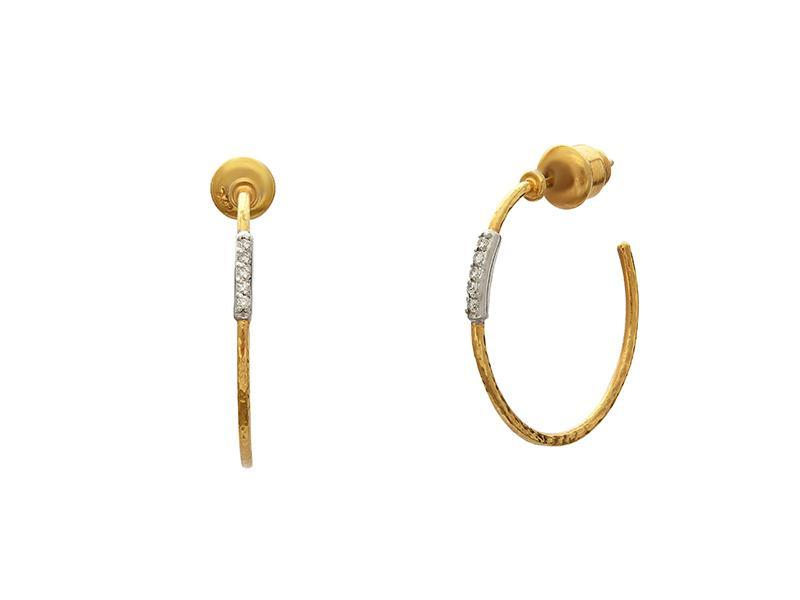 22kt Yellow Gold and Diamond Pave Hoops