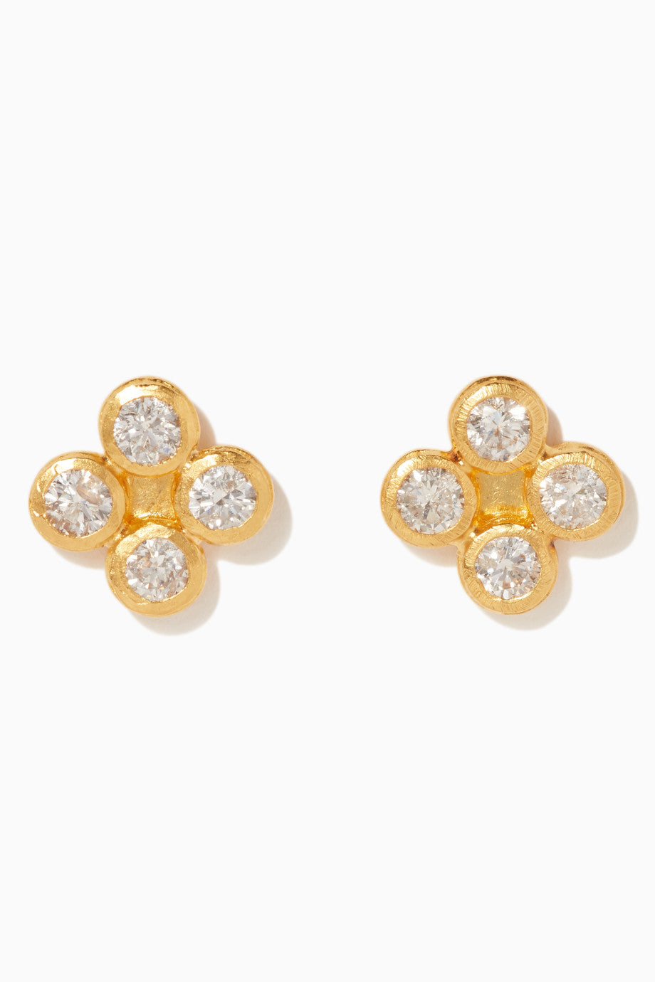 24kt Gold Diamond Button Earrings