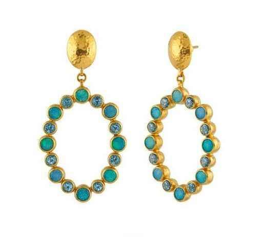24kt Gurhan Earrings with Opals and Blue Topaz