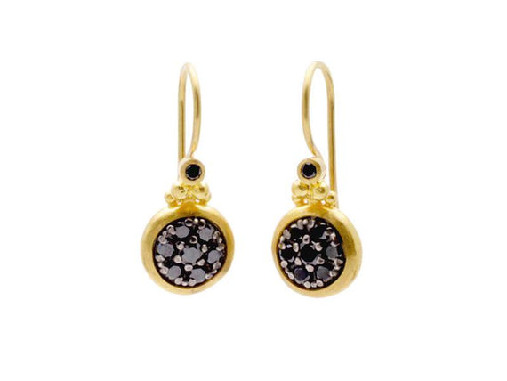 24kt Earrings with Black Diamond Pave