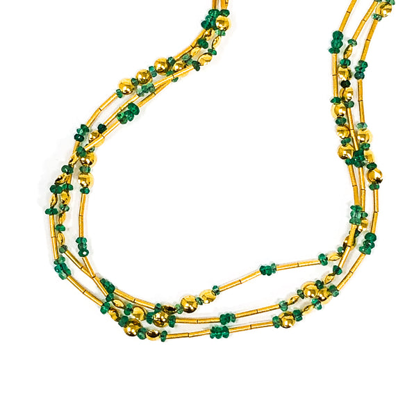 24kt Gold and Emerald Beaded Necklace