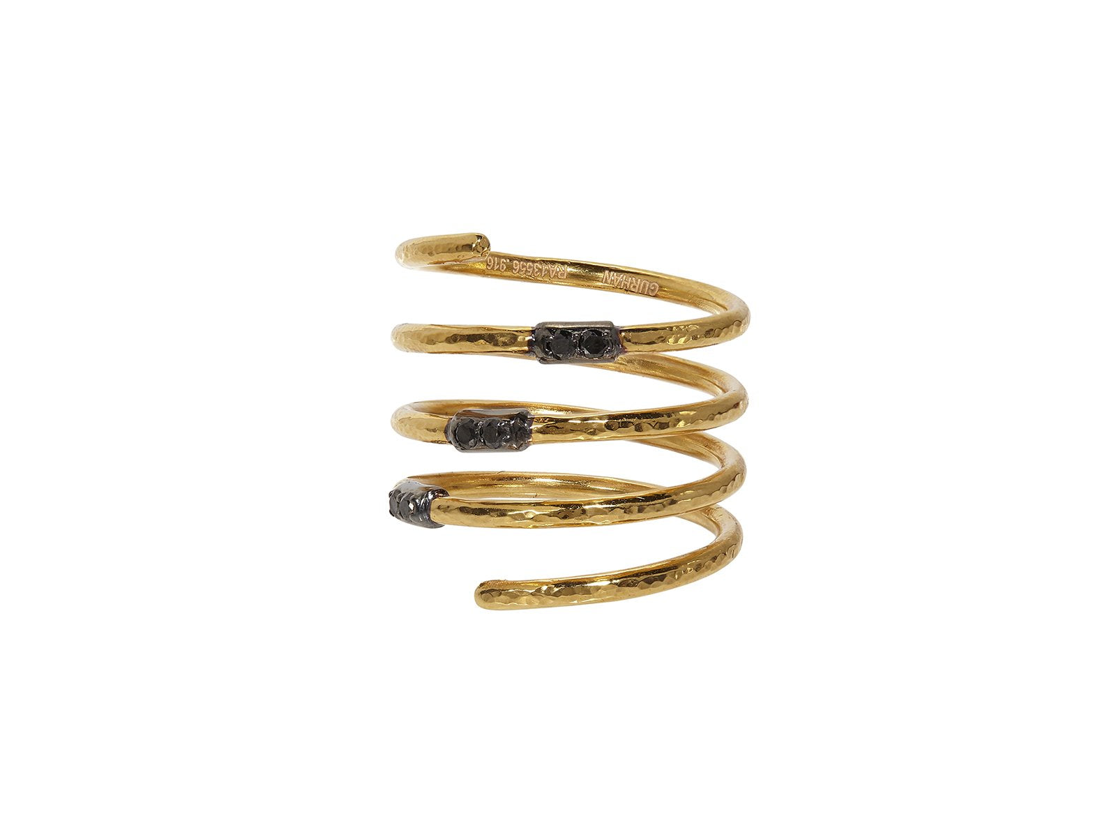 22kt Gold and Black Diamond Spiral Ring