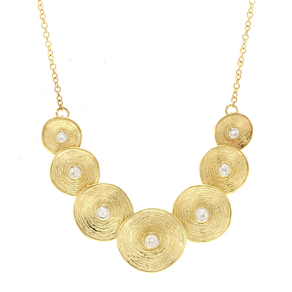 Yellow Gold and Diamond Disc Necklace