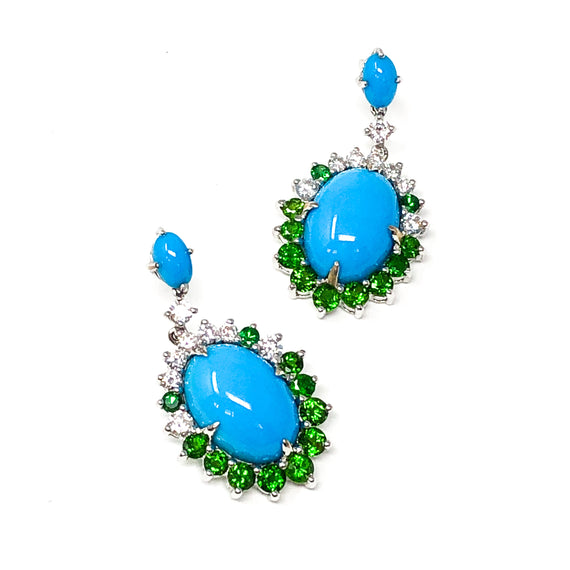 Turquoise, Tsavorite, and Diamond Earrings