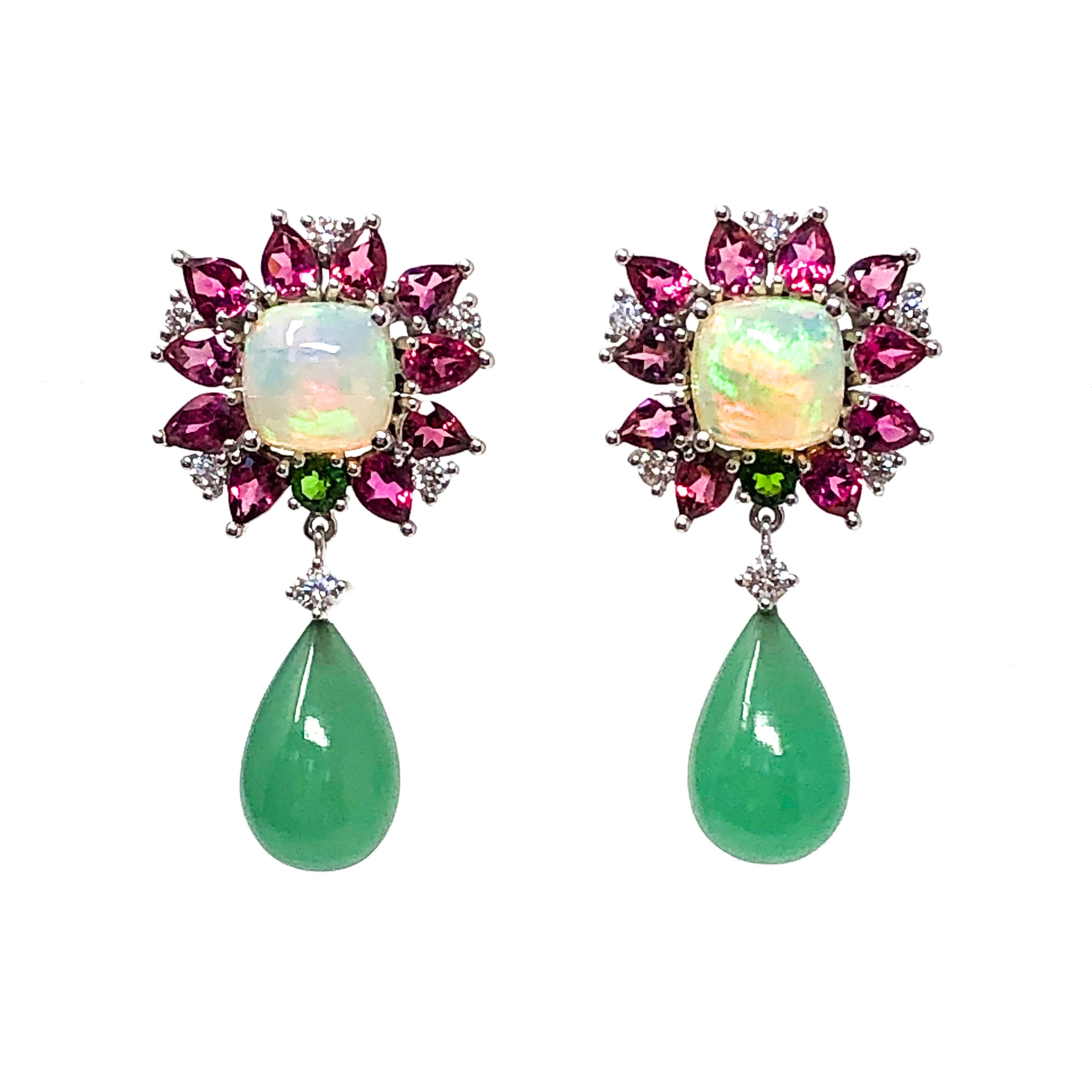 Opal, Pink Tourmaline, and Chrysoprase Earrings