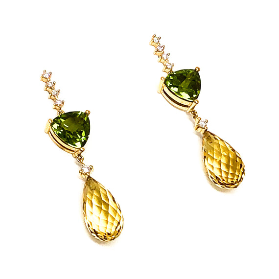 Peridot and Golden Beryl Dangle Earrings
