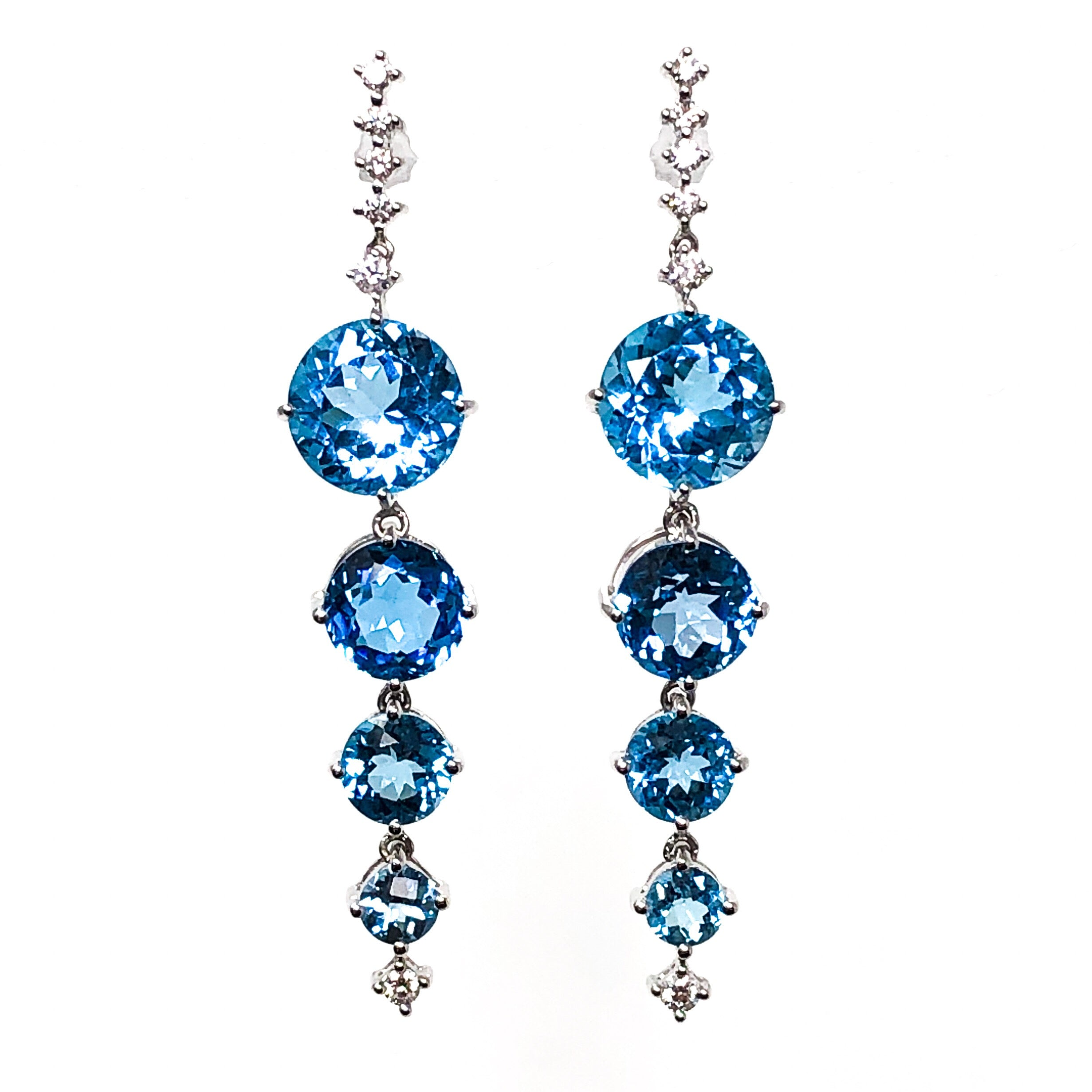 18kt White Gold Blue Topaz and Diamond Dangle Earrings
