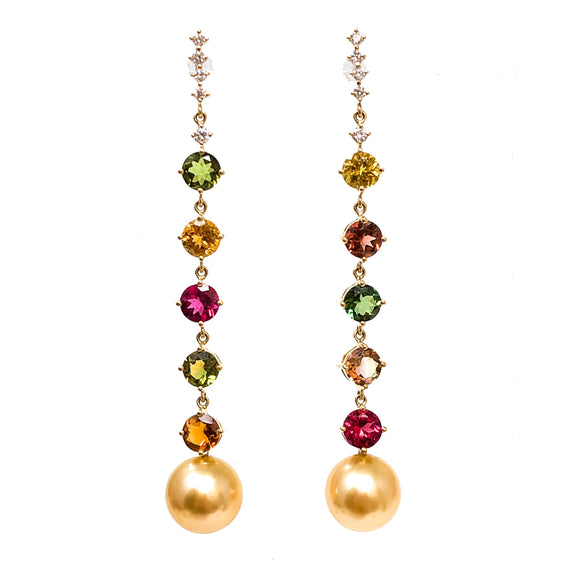 Multi Tourmaline and Golden South Sea Pearl Earrings