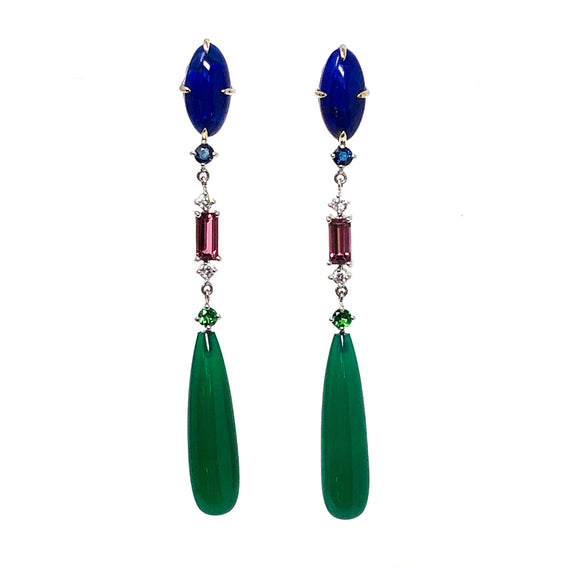 Lapis, Pink Tourmaline, and Green Onyx Earrings