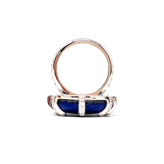 Lapis Cabochon and Diamond Ring