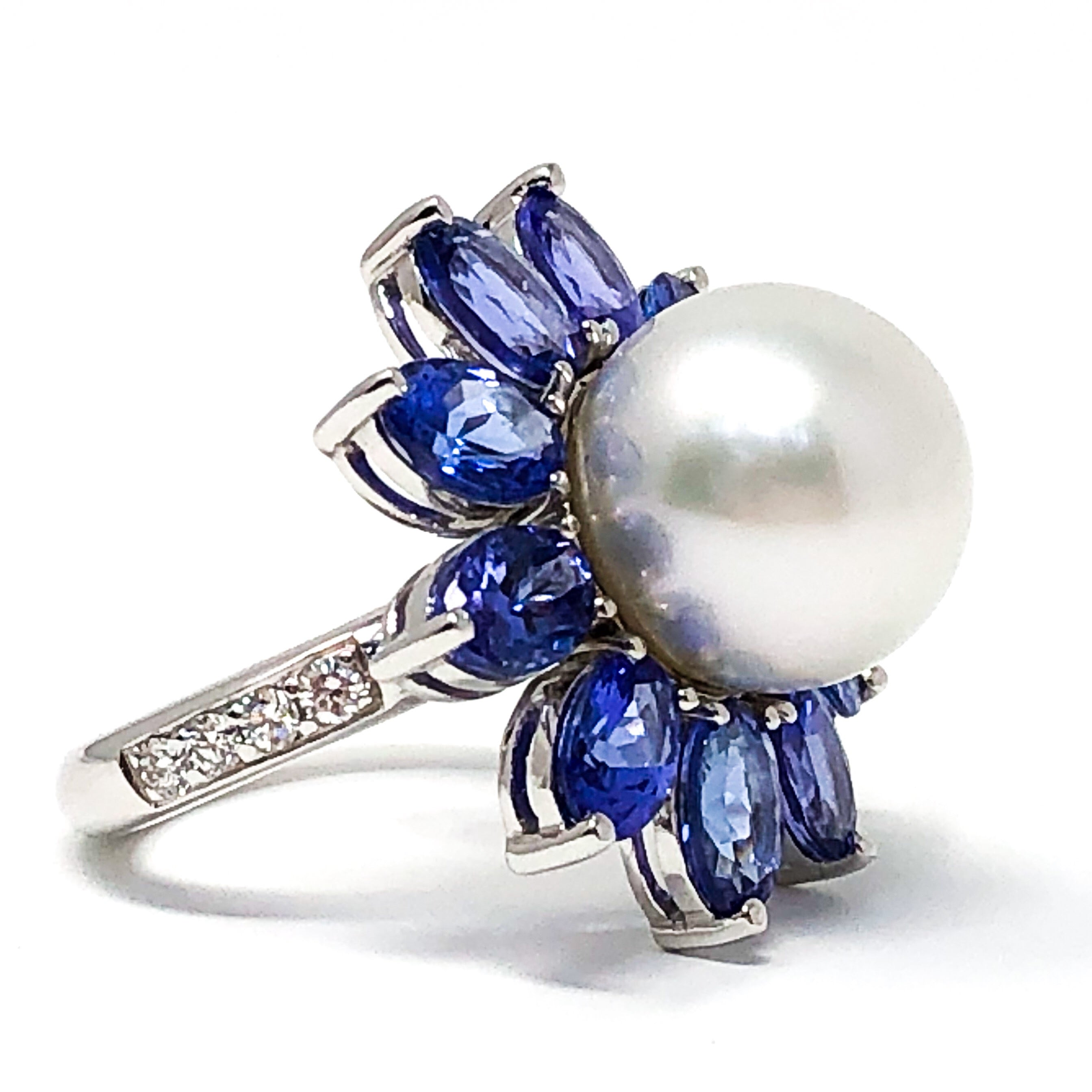 South Sea Pearl and Tanzanite Ring