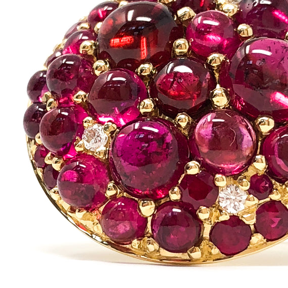 18kt Gold Saucer Ring with Rubies and Rubellite