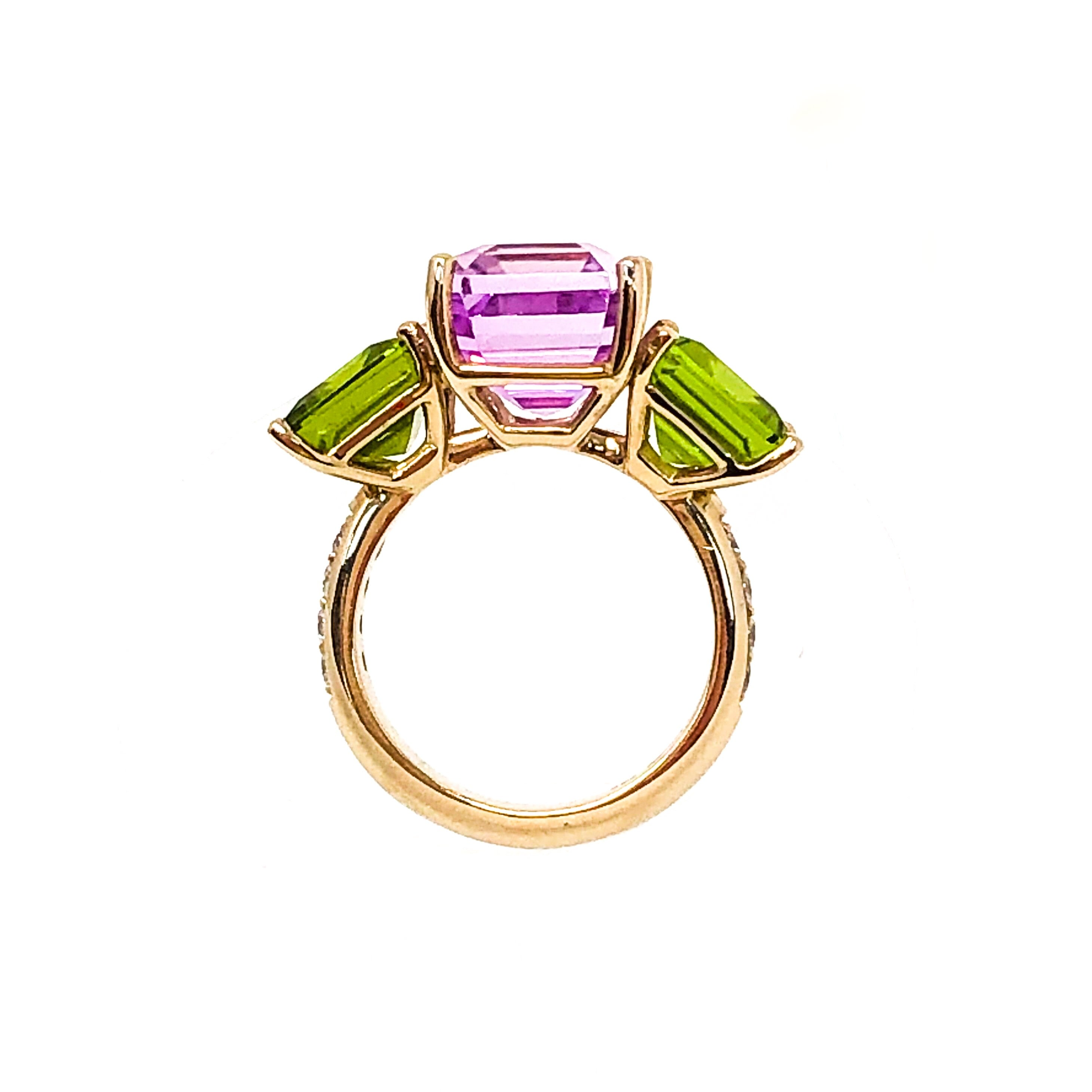 18kt Gold Kunzite and Peridot Ring