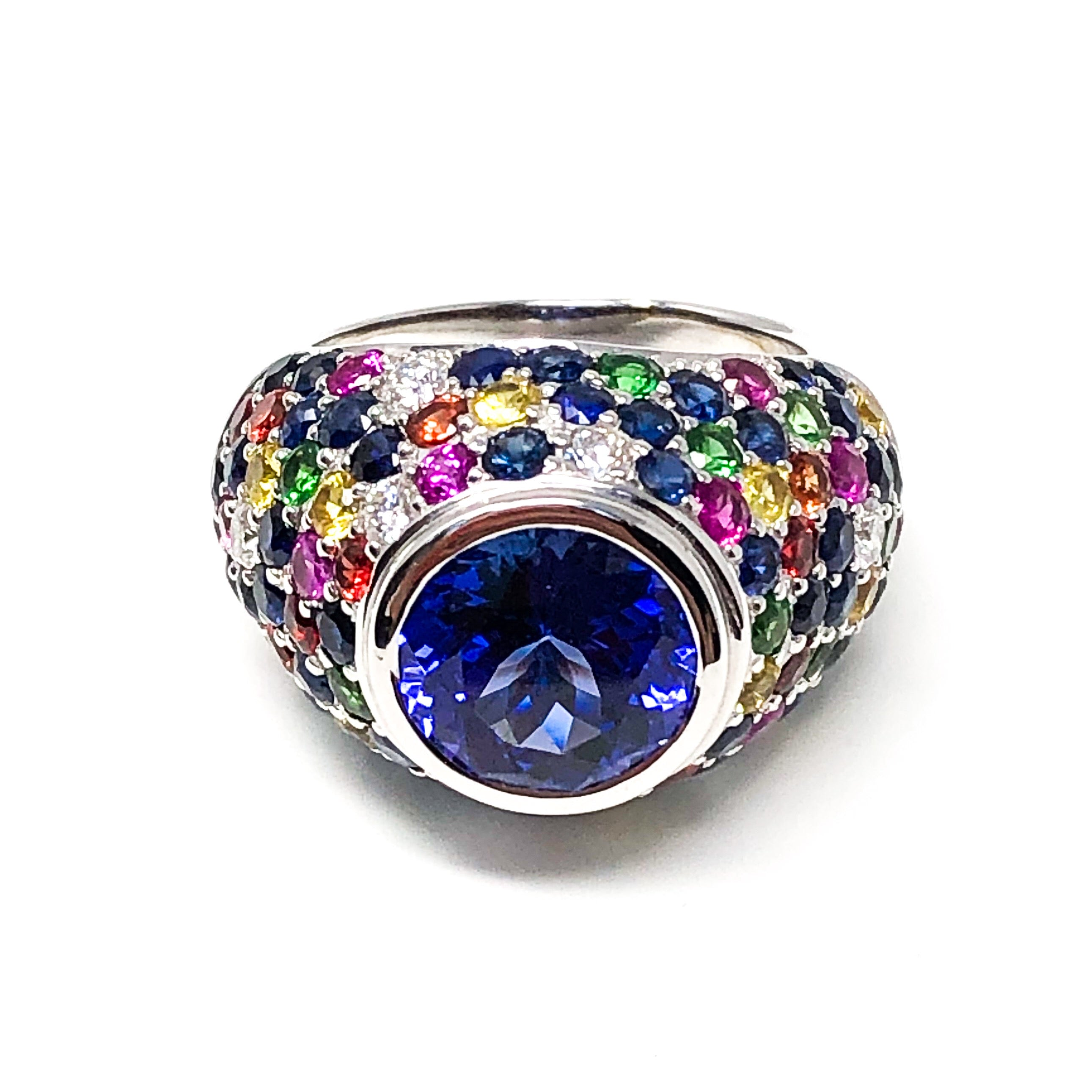 Tanzanite and Mixed Color Dome Ring