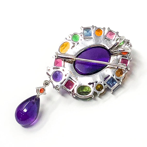 Amethyst Cabochon Brooch/Pendant with Sapphire Mix