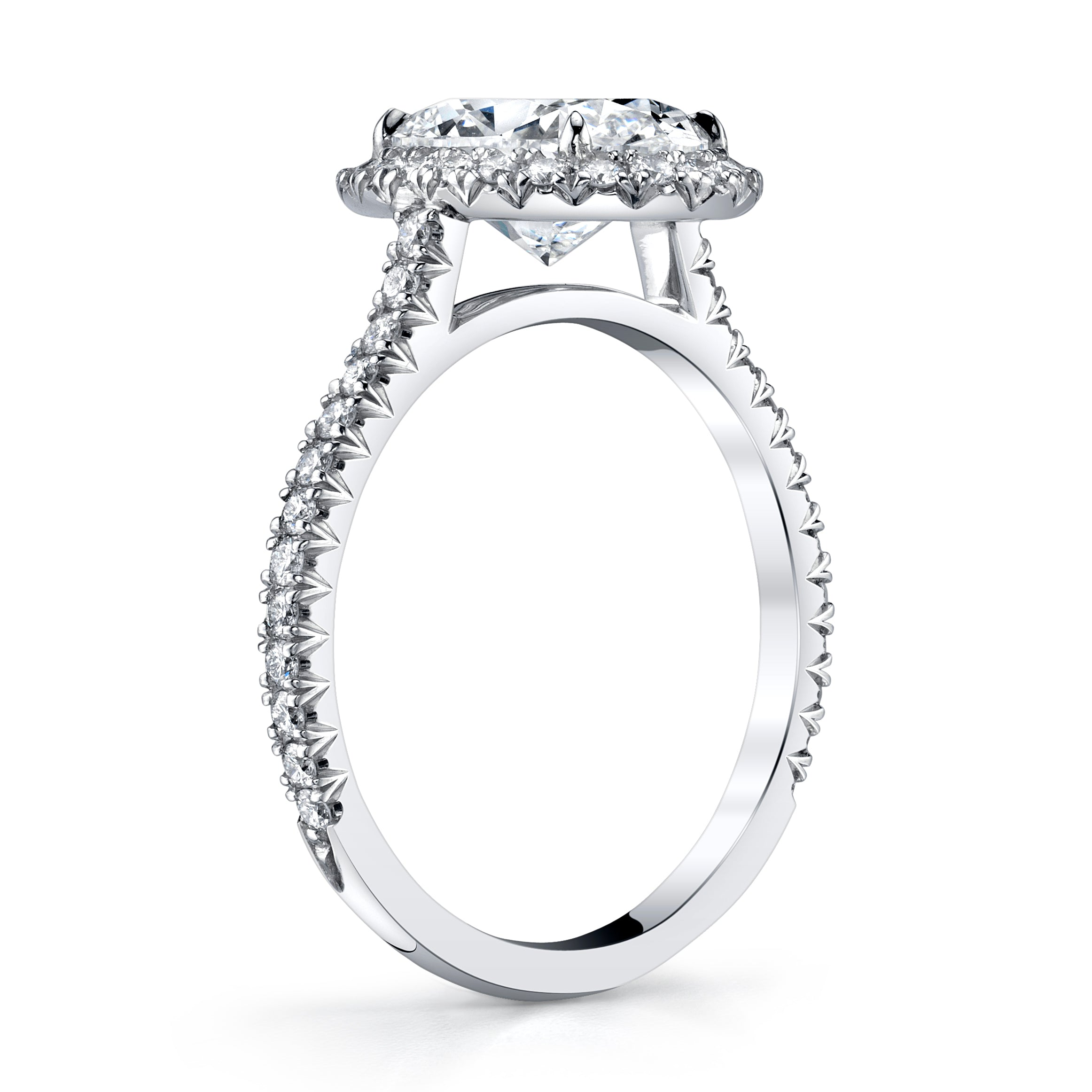 Platinum and Cushion Cut Diamond Halo Ring