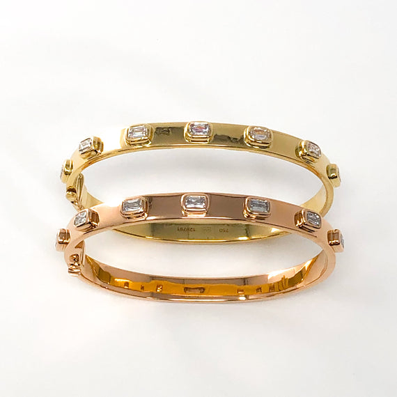 18kt Yellow Gold and Diamond Bangle