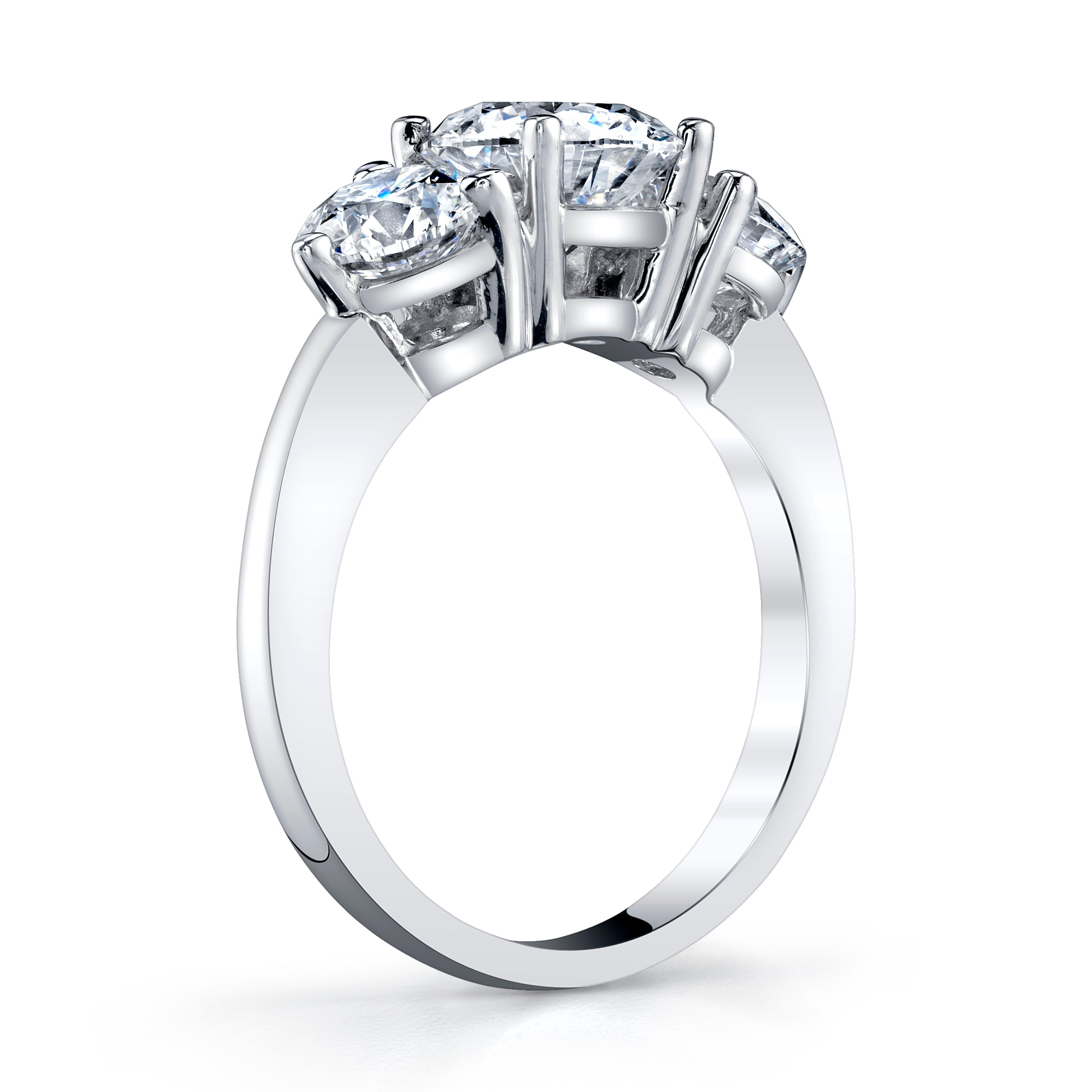 Platinum 3-Stone Round Brilliant Cut Diamond Ring
