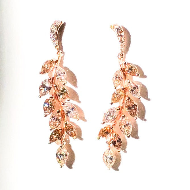 Rose Gold and Marquise Cut Diamond Drop Earrings