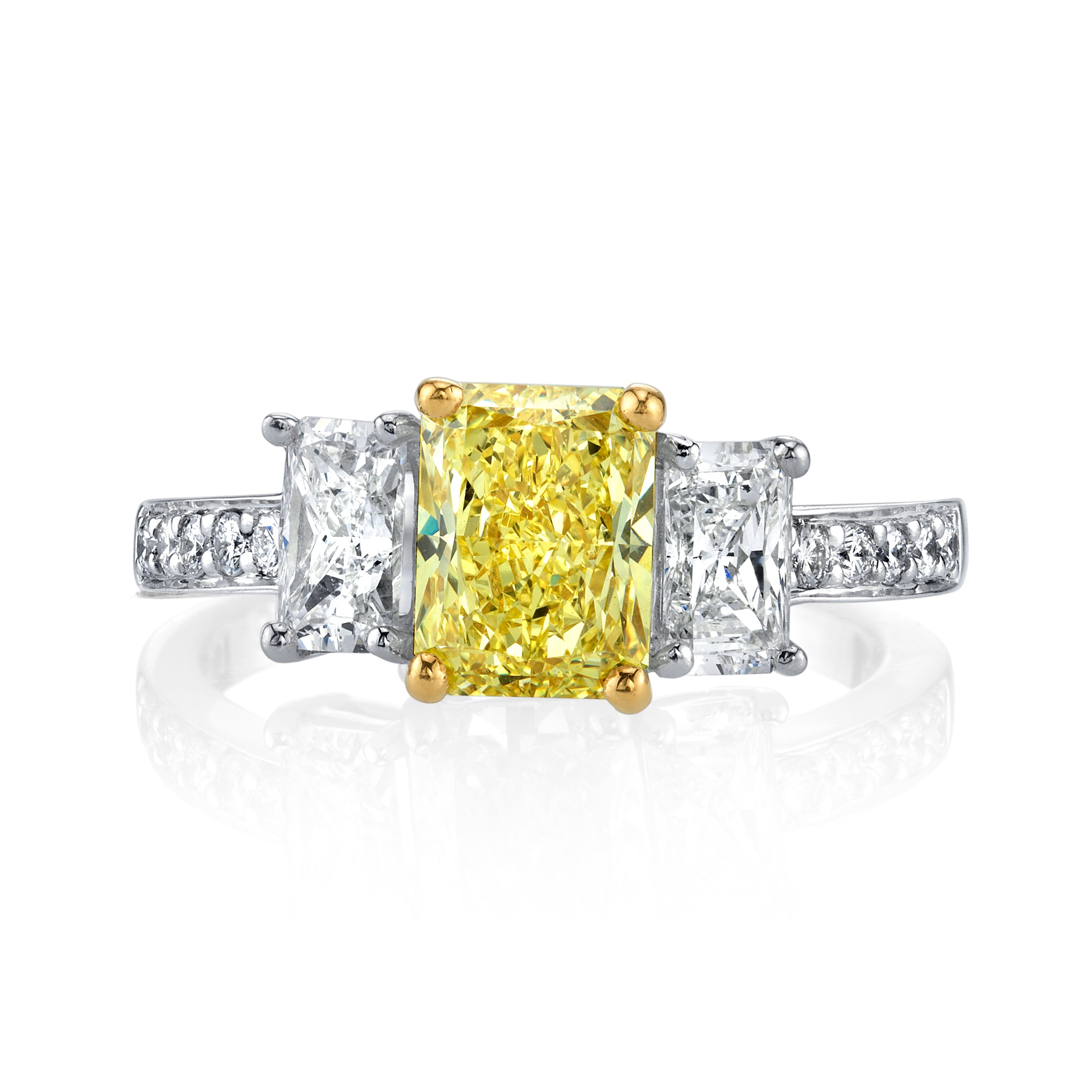 Fancy Intense Yellow Diamond 3-Stone Ring