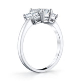 Platinum and Emerald Cut Diamond 3-Stone Ring